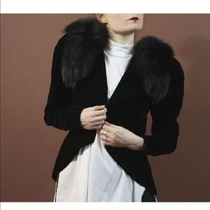 Jackets & Blazers - Vintage black velvet FOX FUR asymmetric blazer